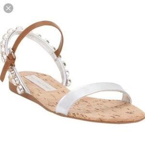 Stella McCartney Jeweled Cork Leather Flat Sandals